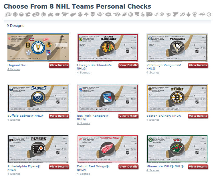 NHL Teams Personal Checks